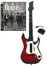 NEW PS3 Wireless Guitar Hero 5 Guitar & Beatles Rock Band Game Bundle Kit RARE