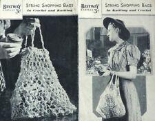 Vintage Knitting & Crochet Pattern • 1930s-1940s • String Shopping Bags • Retro