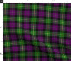Mardi Gras Plaid Purple Green Spoonflower Fabric by the Yard