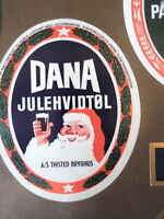THISTED BREWERY VINTAGE CHRISMAS DANA SANTA  DANISH BEER LABEL