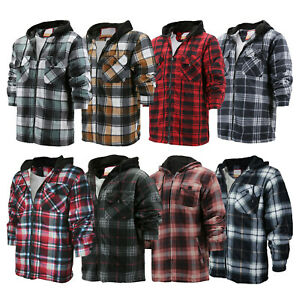 Men's Heavy Fleece Lined Sherpa Hoodie Plaid Flannel Jacket With Hood