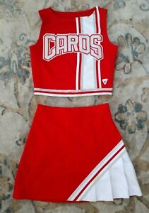 Real High School Varsity Cheer White Red Silver Cardinals Cheerleading Uniform