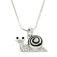 """Snail Charm Pendant Fashionable Necklace - Sparkling Crystal - 18"""" Chain"""