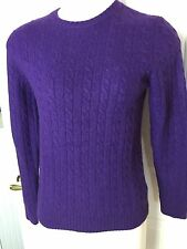 Ralph Lauren S Purple Cashmere Sweater  Crew Fully Cabled Women S847