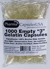 1000 EMPTY GELATIN CAPSULES SIZE 3 BULK Kosher Halal 1,000 Gel Caps Pure