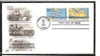 US SC # 1937-1938 Virginia Capes And Yorktown FDC. Artcraft Cachet
