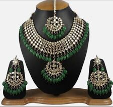G1 Bollywood Indian Necklace Earrings White Stone Jewellery Green Beads Gold Set