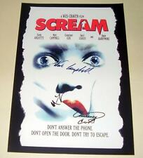 """SCREAM CAST X 3 PP SIGNED POSTER 12""""X8"""" COURTNEY COX NEVE CAMPBELL"""