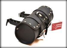 sac de fourche en cuir avec clou rivets pour moto kustom / leather tool bag stud