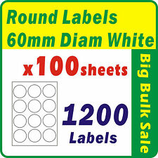100 Sheets 1200 Labels 60mm Diam White Round Blank Labels Inkjet Laser A4 Office