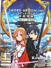 DVD Anime Sword Art Online 1-25 End + Bonus Soundtrack English Subtitles Free SH