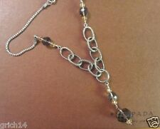 Silpada Engraved Sterling Silver Smoky Quartz & Crystal Necklace retired N1454