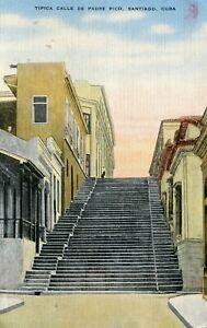 Santiago - Tipica Calle de Padre Pico 1956 Havana Habana cover on postcard