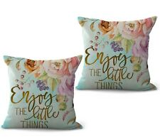 US SELLER, set of 2 pillow covers enjoy the little things flower cushion cover