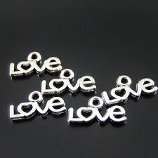 180pcs White K Color Cute Love Words Shaped Alloy Pendants Charms Crafts 52058