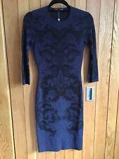 Beautiful Alexander McQueen Blue & Black Intarsia Stretch Knit Dress - XS, BNWT