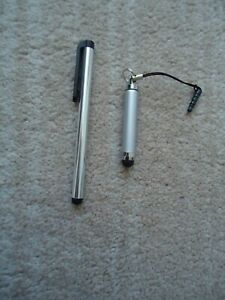 2 SILVER COLOURED UNIVERSAL TOUCH SCREEN STYLUS PENS