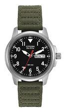 NWT Authentic Citizen BM8180-03E Eco-Drive Green Canvas Strap Mens Watch w/ box