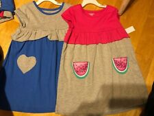 d03bf8e59e Toughskins Girls Tshirt Dress Watermelon & Hearts Set 2 Dress Lot Nwts  Small 4