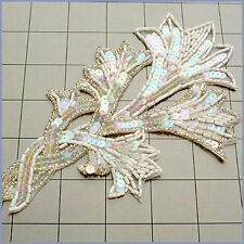 CRYSTAL IRIS AB SEQUIN BEADED FLOWER APPLIQUE 2708-WD
