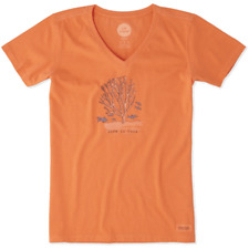 Life is Good Women's Crusher Vee-Coral on Tropical Orange - XL