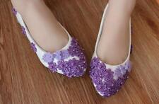 Zapatos de Salón Bailarina Blanco Flores Violeta Evento Novia Encaje 3 4.5 CM