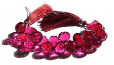 Rubellite Hydro Quartz Handmade Faceted Onion Shape Beads 8x8mm 7 Inch Strand