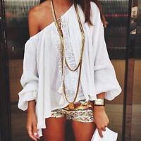 Boho Women Off Shoulder Fashion V-neck Lace Crochet Chiffon T Shirt Tops Blouse