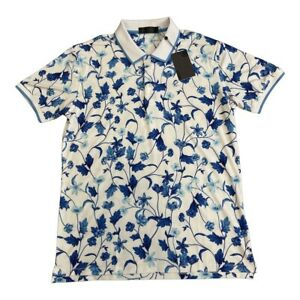 G/Fore Mens Golf Floral Polo Size Small G4MS21K23 Blue White Snow $120