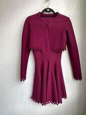 ALAIA Purple Wool Flare Laser Cutout Sleeveless Cardigan Sweater Dress Set 38/6