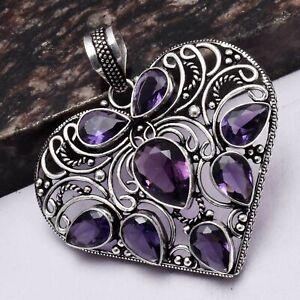 "Amethyst Ethnic Handmade Heart Design Pendant Jewelry 2.2"" AP 4665"