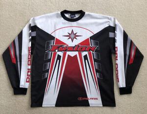 Polaris Fusion Long Sleeve Shirt Snowmobile Red Black Jersey Skidoo Men's XL