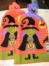 LOT OF 2 HALLOWEEN WITCH CROCHET TOP KITCHEN, BATH HAND TOWELS~WITCH BUTTONS