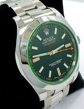 Rolex Milgauss 116400 Green Crystal Black Dial Oyster PAPERS *MINT CONDITION*