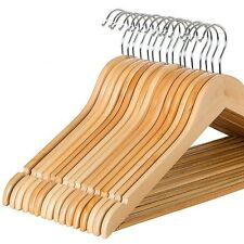 Multifunctional Wooden Hangers 20 Pack, Non Slip Bar for Suits Pants Coats-Zober