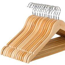 Zober Wood Suit Hangers w/ Non Slip Bar, 360 Degree Swivel Chrome Hook - 20 Pack