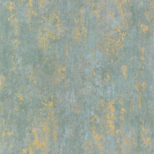 CS27342 - Classic Silks 3 Plaster Effect Aqua Gold Galerie Wallpaper