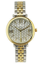 Unique Elegance Roman Numeral screen dial ladies Watch Two Tone Link Band Gift B