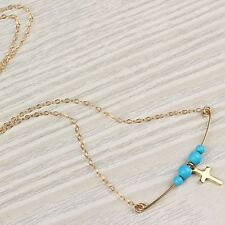 Pretty Lucky Cross with Small Turquoise Beads Pendant Necklace in Golden Chain