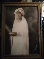 VINTAGE ANTIQUE PHOTO YOUNG WOMAN STANDING, WHITE OUTFIT