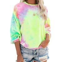 Womens Tie Dye Long Sleeve Sweatshirt Casual Baggy Pullover Jumper Blouse Top