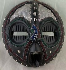 MASK WOODEN CARVED FACE BLACK W/ SHELLS & SEED BEADS WALL HANGING DECOR