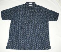 Perry Ellis Men's Button Front Shirt SZ XL 100% Silk Patterned Short Sleeve EUC