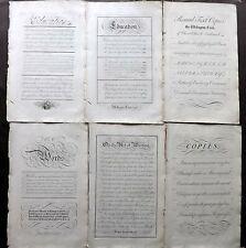 George Bickham - Universal Penman 1743 Lot of 6 Folio Calligraphy Prints. Plates