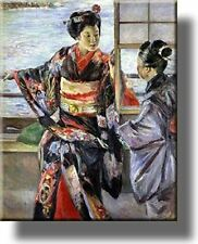 Japanese Women Painting Picture on Stretched Canvas, Wall Art Décor, Ready to Ha