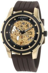 Akribos XXIV AK444YG Automatic Skeleton Dial Brown Strap Goldtone Mens Watch
