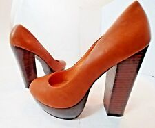 Steve Madden Desii BROWN Leather Platform High Chunk Heel Pumps Shoes Womens 7M