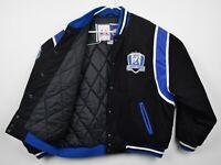 Vtg 90s Tampa Bay Lightning Men's Sz XL Snap-Front Black Blue Quilted NHL Jacket