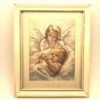 Vtg Framed Print Art E.G. Co, Inc. Edna Kasabach 1950's Our Babys Guardian Angel