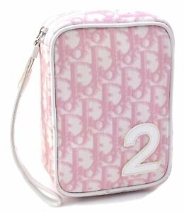 Authentic Christian Dior Trotter No.2 Pouch PVC Leather Pink C4500